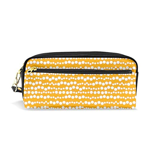 (Tiffany N WhitneyRG Bubble Inspired Stripe Lined Circles Rounds Makeup Bag, Portable Ladies PU Travel Cosmetic Pouch Makeup Clutch Pouch Cosmetic and Toiletries Organizer Bag)