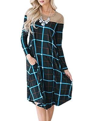 Sidefeel Women Plaid Print Long Sleeve Swing Casual Pocket Midi T-Shirt Dress