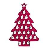 HOMEMIX 1pcs Christmas Advent Calendar Countdown Christmas Tree Advent Calendar with Lamp and Clip | Hanging Calendars Xmas Decor Theme,Perfect for Home or Office(Red)