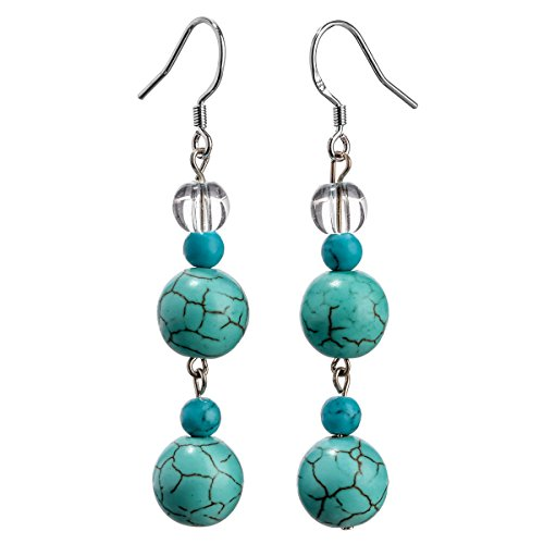 YACQ Sterling Silver Compressed Turquoise Clear Quartz Gemstone Dangle Earrings Handcrafted Jewelry for Women (compressed-turquoise,clear quartz) Clear Dangle Bead Earrings