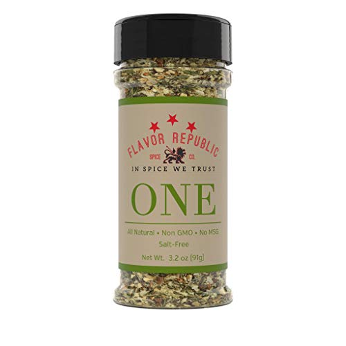 Pepper Free Seasoning Salt - All Purpose Seasoning, ONE Blend. Black Pepper and Onion Spice for Vegetables, Pork, Chicken and Steak - Flavor Republic (3.2 oz)