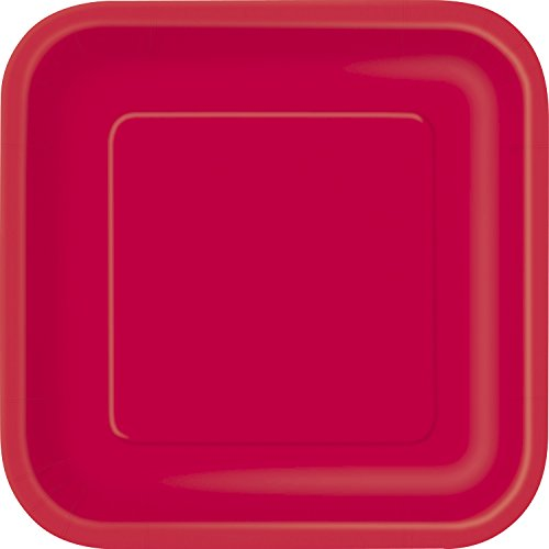 Square Red Paper Plates, 14ct ()