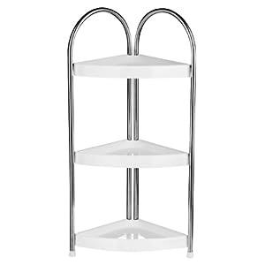White shaker style bathroom corner storage unit - White bathroom corner shelf unit ...