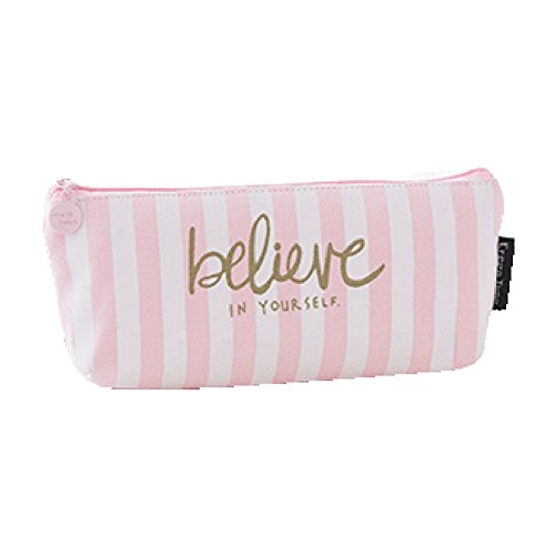 Eyeliner Cafe - Large Pencil Case Pouch Canvas Bag For Girls Boys Colored Drafting Drawing Pencil,Organizer Women Men Eyebrow Eyeliner Pencil Lip (Vertical Stripes)