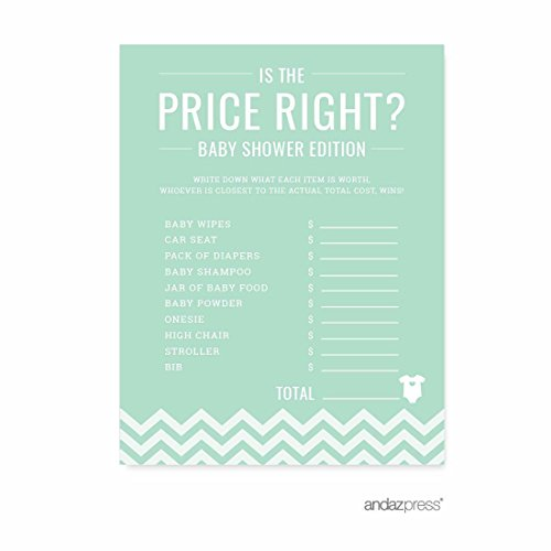 Andaz Press Mint Green Chevron Gender Neutral Baby Shower Collection, Games, Activities, Decorations, Is the Price Right Game Cards, 20-pack ()