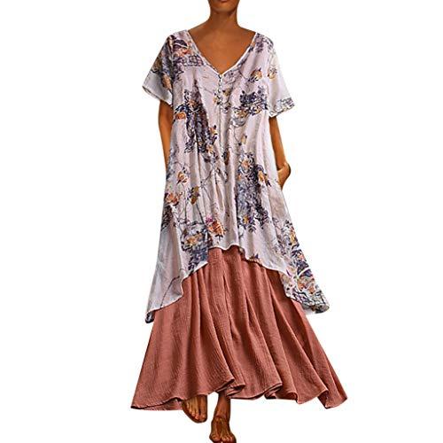 (Outique Women's Dresses Summer,Vintage Bohemian Print Floral Dress Short Sleeve V-Neck Maxi Fake Two Pieces Dress)