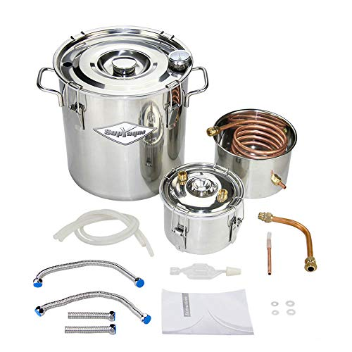 SupYaque 8 Gal Water Distiller 30L 3 Pots Moonshine Spirits Still Kit Complete Alcohol Copper Tube Home Brewing Kit with Thumper Keg Stainless Steel Boiler