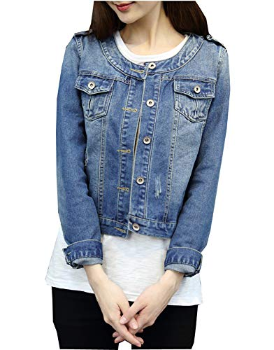 Denim Jackets Trendy XU Women Retro Collarless Long Sleeve Short Crop Jeans Coat (L)