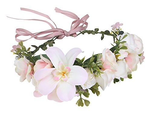 Duovlo Flower Wreath Headband Crown Handmade Rose Floral Garland for Festival Wedding Necklace Belt Party Decoration (Pink)