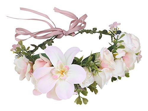 Duovlo Flower Wreath Headband Crown Handmade Rose Floral Garland for Festival Wedding Necklace Belt Party Decoration (Pink)