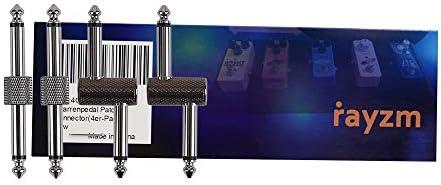 [スポンサー プロダクト]Rayzmギター/ベース用エフェクトペダル連結プラグ、接続コネクター、6.35mmニッケルメッキのプラグ、4個セット(ストレート型2個+Z型2個)、省スペース、接続ケーブルよりペダルボードのスペースをもっと合理的に利用できる。