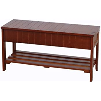 Roundhill Furniture Quality Solid Wood Shoe Bench Storage, Cherry