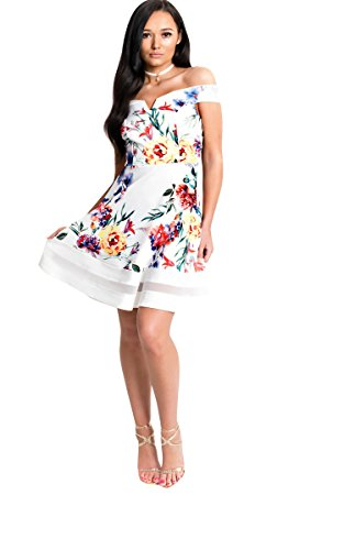 (IKRUSH Women's Victoria Off Shoulder Floral Skater Dress Size in White Size 10)