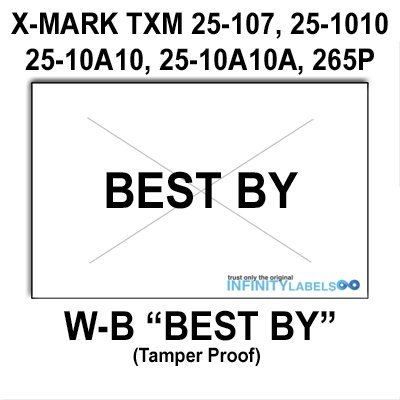 168,000 X-Mark 2516 compatible ''Best By'' White General Purpose Labels to fit the X-Mark TXM 25-107, 25-1010, 25-10A10, 25-10A10A & 25-5P Price Guns. Full case, includes 8 ink rollers. by Infinity Labels