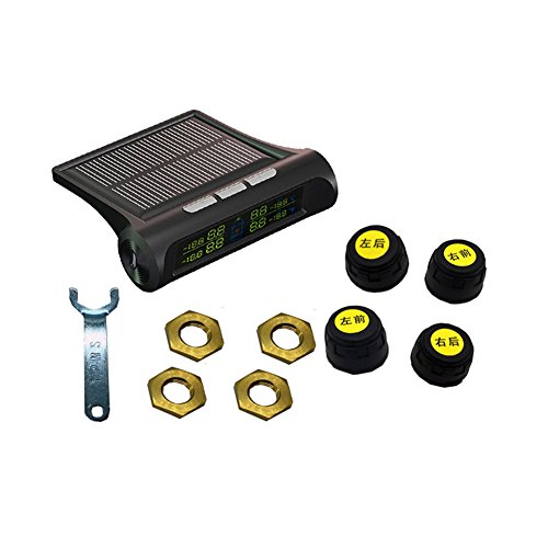 Solar Power Wireless LCD Tire Pressure Monitor System TPMS With 4 External Sensors Tire Pressure Gauge Wireless Intelligent LCD Display System 4 Tires' Pressure And Temperature Real Time (Occupation Sensor Switch)