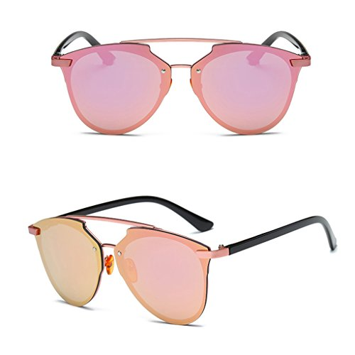 Itemap Fashion Women Vintage Cat Eye Rimless Sunglasses Designer Retro Eyeglass Shades (Rose - Rose Aviators Gold Ray Ban