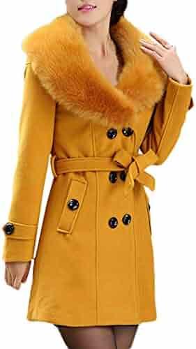 dc4aefc4a6c Hooded Sweatshirt Women Zippered,Womens Winter Lapel Wool Coat Trench  Jacket Long Sleeve Overcoat Outwear