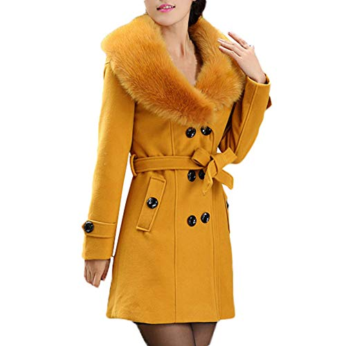 Transer- Women's Plus Size Faux Fur Collar Double-Breasted Wool Coat Parka Jacket with Belt (Yellow, M)