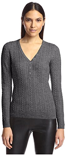 Cable Henley Sweater - SOCIETY NEW YORK Women's Cable Henley Sweater, Charcoal, L