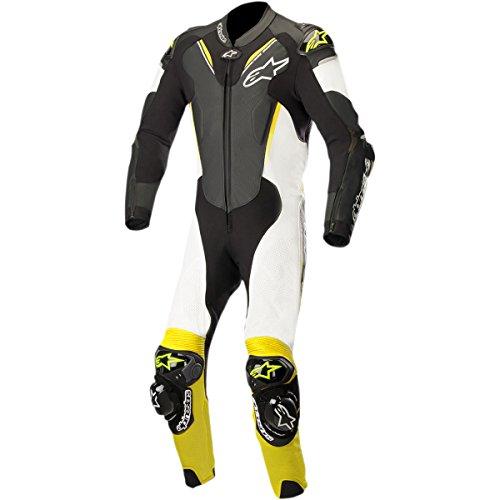 Alpinestars Atem V3 Men's 1-Piece Street Race Suits - Black/White/Yellow / 54 by Alpinestars
