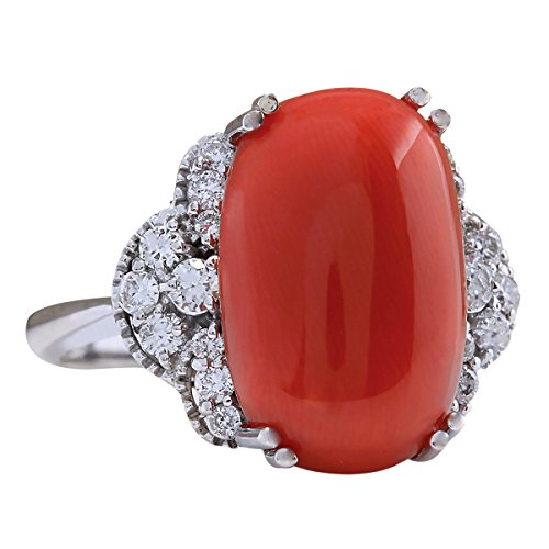 9.25Carat Natural Coral And Diamond Ring In 14K White Gold