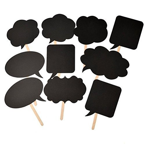 Photo Booth Sticks (HuanX35 Photo Booth Kit,Writable Black Card Board Photographing Props Party Favor(10pcs Different Shapes), style)