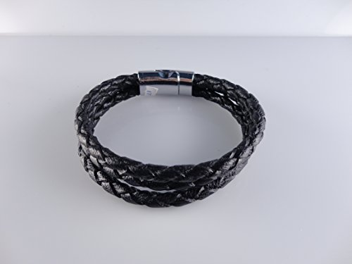 (Leather Bracelets for Men Bangle Rope Magnetic Clasp, Black Color, Size 8.26'' by Handmade Studio HS3445L)