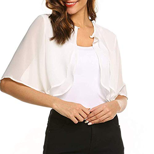 Euone Summer Tops, Women's Short Sleeve Sheer Open Front Chiffon Shrug Cardigan Top ()