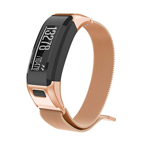 (BabiQ for Garmin VIVOsmart HR Classic Milanese Magnetic Loop Stainless Steel Accessory Watch Band Wristband Sport Strap Replacement (Rose Gold))