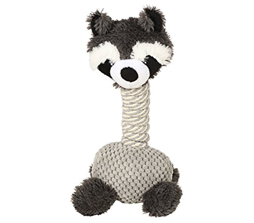 Dehner Racoon Dog Toy with Squeaker, Approximately 34 cm x 15 cm, sisal/Plush, Grey