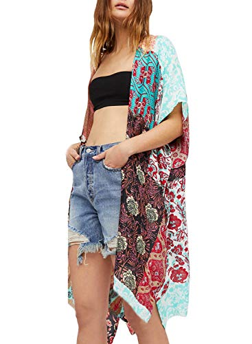 Women Casual Summer Patchwork Kimono Duster Boho Floral Printed Cover Ups Swimwear