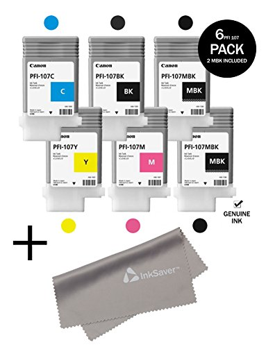 PFI-107 Set Genuine Canon Pfi-107 6 Pack Set of 5 Colors Ink Tanks 2 Pfi-107mbk,and 1 Pfi107bk Pfi107c Pfi107y Pfi107m by Canon + InkSaver MicroFiber LCD Screen Cleaning Cloth by Genuine Brand Sets