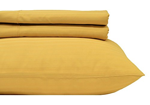 Gold Pillowcase Striped (Royal Hotel's Striped Gold 600-Thread-Count 4pc Full Bed Sheet Set 100-Percent Cotton, Sateen Striped, Deep Pocket)