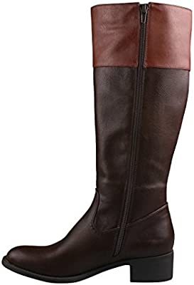 e7d39b7c7e9 Refresh ALTO-03 Women's Low Heel Side Zip Knee High Simple Comfort ...