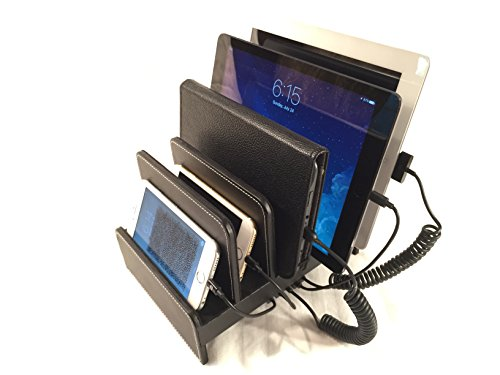DockBox Black Faux Leather Desktop Multi Device Charging Stand - Holds Any Combination of 5 Smart Phones/Tablets - Compatible with iPhone 5/6/7/8/X 7 Plus, 8 Plus, iPad, Galaxy and More!