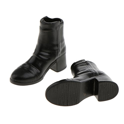 Fenteer 2 Pairs 1:6 Black Rubber Ankle Boots Shoes for 12'' Female Figure Accessory KKTqc9kdGh