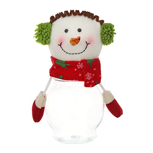 Christmas Santa Candle Holder (TZINSUN Cute Christmas Decorative Candy Jar Christmas Gift Storage Bottle Holder Santa Snowman Elk Plastic Candy Container for Home Party Christmas Decorations XMAS Décor(Pack of 2))