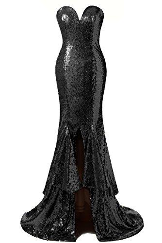 Snow Lotus Women's Sweetheart Sequins Mermaid Prom Dresses (16, Black)