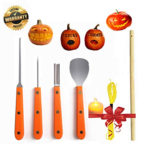 Pumpkin Carving Kit Professional Tools Stainless Steel LED Candle Wood Stick Light String Set Halloween Decoration -