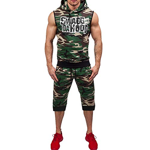 VEZAD Men Summer Shorts+ Vest Tracksuit Camouflage Print Sleeveless Hooded Vest Top Pants Set for $<!--$26.93-->