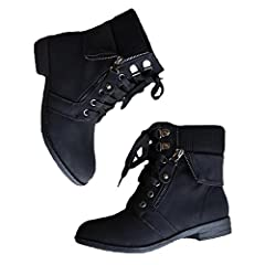 Womens Low Heel Lace Up Knit Sweater Cuff Ankle Combat Boots