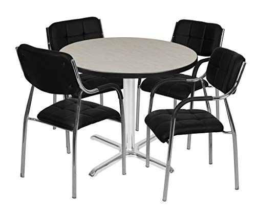 (Regency TVX42RNDPLCM16BK Via Round X-Base Table Set with Four Uptown Chairs 42