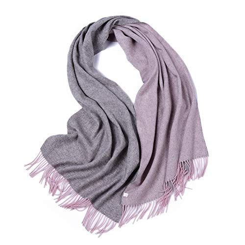 (LakeMono 100% Wool Scarf, Large Solid 2 Tone Wrap Shawl for Woman (79'' 27.55'',Grey & Pink))