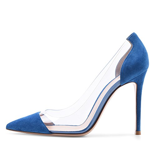 Zapatos de Mujer Primavera y Verano Comfort Heels Stiletto Heel Cerrado Dedo del pie para Office & Career Party & Evening Ladies Single Shoes (Color : Blue, tamaño : 39) Blue