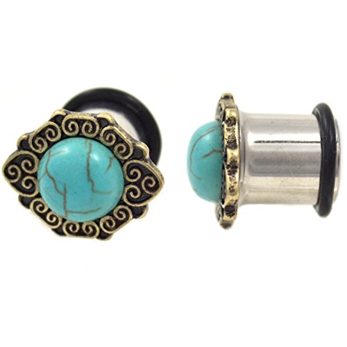(Pair of Synthetic Turquoise Stone Plugs w/Intricate Edging Single Flared Ear Gauges - 1/2 Inch (12.8MM))