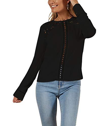 Rond Dentelle Longues Printemps Chemisiers T Manches Casual Shirt Femme Automne JackenLOVE Haut Blouse Noir Fashion Top et Tee Col pissure Shirts FOawqYdAn