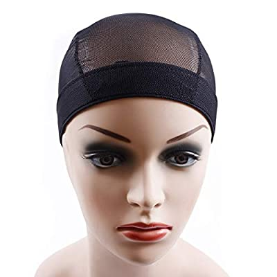 Rismale Hair Black Wig Caps For Making Wig Spandex Net Elastic Dome Cap Glueless Wig Caps Breathable Mesh Cap Weaving Elastic Nylon