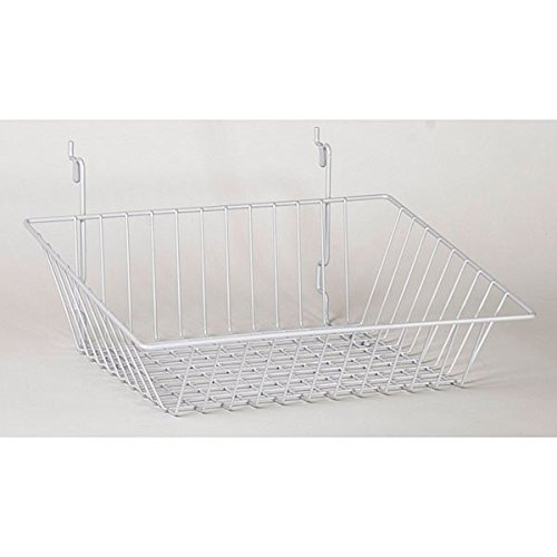 Lot of 8 New White Wire Sloping basket 15''w x 12''d x 5''h back x 3''h front