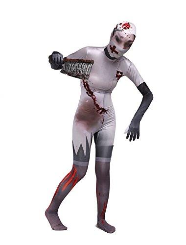 PinLian Zentai Lycra Spandex Bodysuit Zombie Nurse Full Body Costumes XL (Sexy Zombie Nurse Costume)