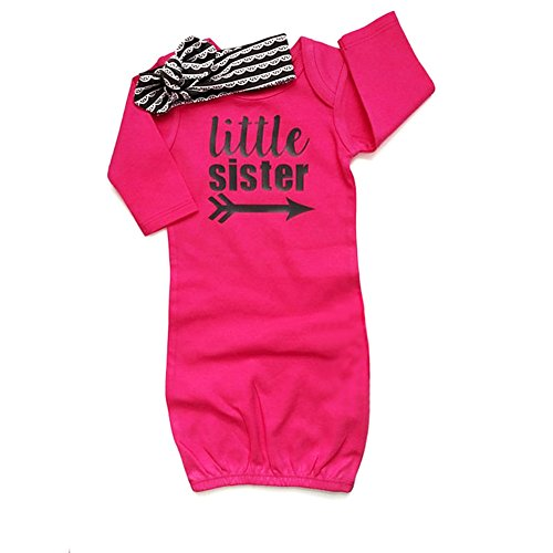 (HBER Baby Girls Little Sister One Size Long Sleeve Stripe Gowns Pajamas Sleepwear Bag Outfits Set with Headband)